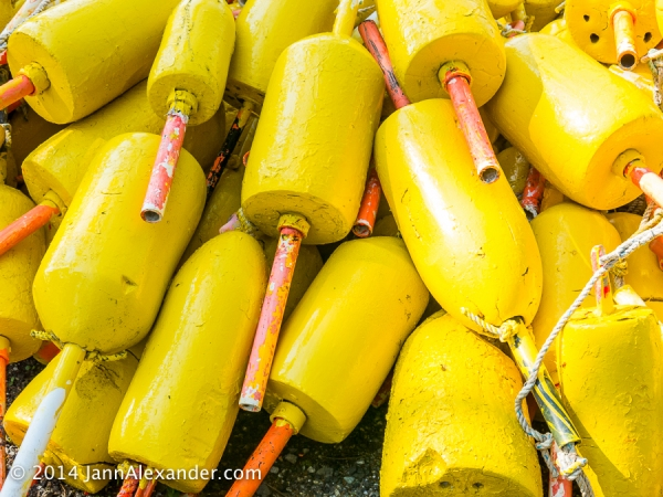 yellow lobster buoys