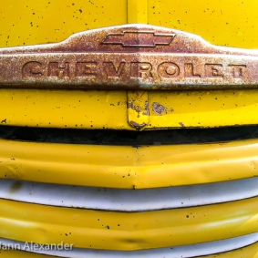rusty-chevroley-chrome-logo-on-yellow-truck