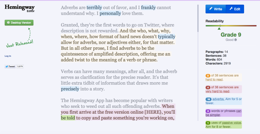 15 Dreaded Adverbs, According to the Hemingway App