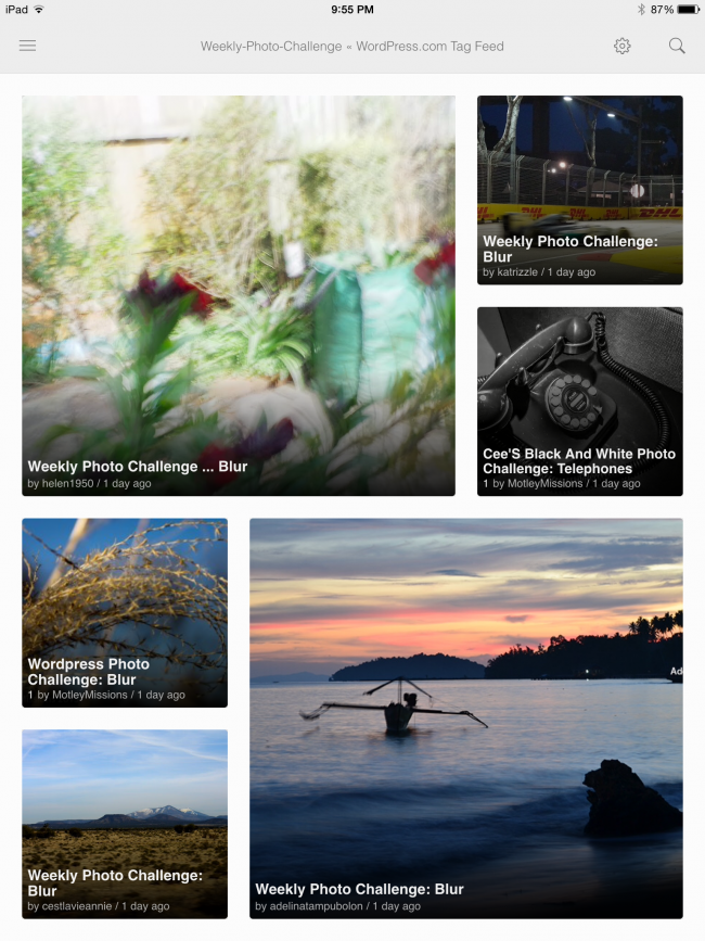 Weekly Photo Challenge posts in Feedly