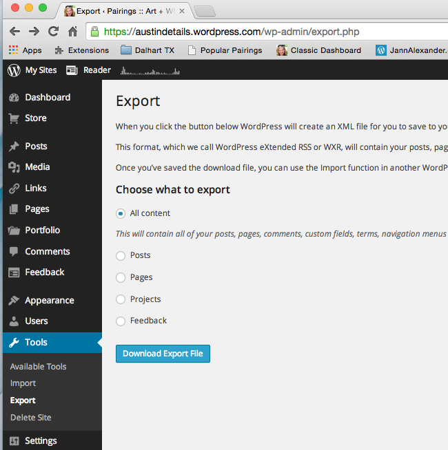 Export WordPress Site Content
