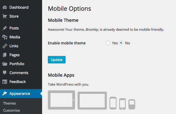 Enable Mobile Friendly